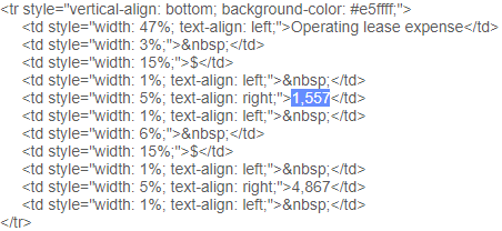 XBRL HTML Snippet
