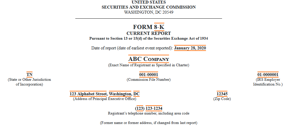Example of Form 8-K